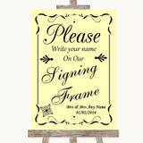 Yellow Signing Frame Guestbook Customised Wedding Sign