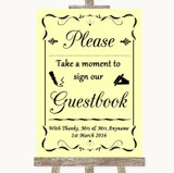 Yellow Take A Moment To Sign Our Guest Book Customised Wedding Sign