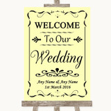 Yellow Welcome To Our Wedding Customised Wedding Sign