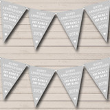Vintage Text Any Year Silver Grey Wedding Anniversary Party Bunting