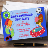 Swimming Pool Beach Customised Party Invitations