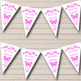 Butterfly Hot Pink Wedding Anniversary Party Bunting