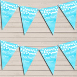 Aqua Blue Watercolour Lights Wedding Anniversary Bunting Garland Party Banner