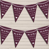 Heart Mr & Mrs Eggplant Aubergine Wedding Anniversary Bunting Party Banner