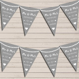 Heart Mr & Mrs Light Silver Grey Wedding Anniversary Bunting Party Banner