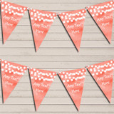 Coral Watercolour Lights Wedding Anniversary Bunting Garland Party Banner