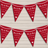 Heart Mr & Mrs Burgundy Red Wedding Anniversary Bunting Party Banner