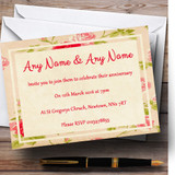 Vintage Pink Shabby Chic Flowers Postcard Style Customised Anniversary Party Invitations
