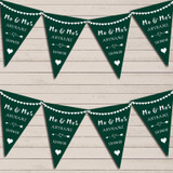 Heart Mr & Mrs Hunter Green Wedding Anniversary Bunting Party Banner