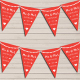Heart Mr & Mrs Tropical Red Wedding Anniversary Bunting Party Banner