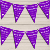 Heart Mr & Mrs Deep Purple Wedding Anniversary Bunting Party Banner