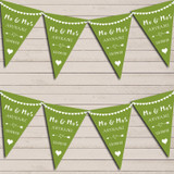 Heart Mr & Mrs Olive Green Wedding Anniversary Bunting Party Banner