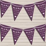 Heart Mr & Mrs Plum Purple Wedding Anniversary Bunting Party Banner