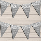 Burlap & Lace Grey Wedding Anniversary Bunting Garland Party Banner