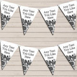 White & Black Lace Wedding Anniversary Bunting Garland Party Banner
