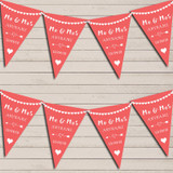 Heart Mr & Mrs Coral Pink Wedding Anniversary Bunting Party Banner