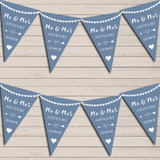 Heart Mr & Mrs Dusky Blue Wedding Anniversary Bunting Party Banner