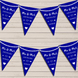 Heart Mr & Mrs Royal Blue Wedding Anniversary Bunting Party Banner