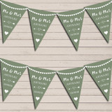 Heart Mr & Mrs Sage Green Wedding Anniversary Bunting Party Banner