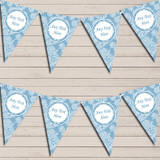 Lace Pattern Blue Wedding Anniversary Bunting Garland Party Banner