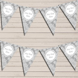 Lace Pattern Grey Wedding Anniversary Bunting Garland Party Banner