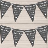 Heart Mr & Mrs Dark Grey Wedding Anniversary Bunting Party Banner