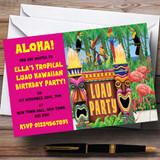 Pink Hawaiian Tropical Luau Customised Party Invitations