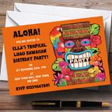 Orange Tropical Luau Hawaiian Customised Party Invitations