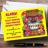 Yellow Tropical Luau Hawaiian Customised Party Invitations