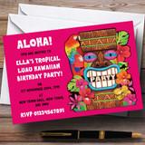 Pink Tropical Luau Hawaiian Customised Party Invitations