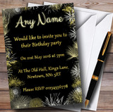 Black And Gold Fireworks Birthday Party Customised Invitations