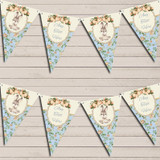 Bunny Baby Rabbit Shabby Chic Floral Blue Boys Baby Shower Bunting