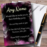 Black Silver Pink Fireworks Birthday Party Customised Invitations