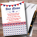 Red And White Blue Bunting London Customised Birthday Party Invitations
