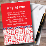 Red And White London Customised Birthday Party Invitations