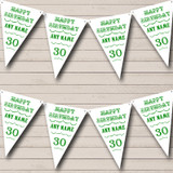 Vintage Text Any Age Birthday White Green Birthday Party Bunting