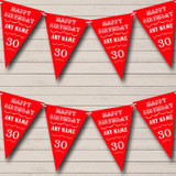 Vintage Text Any Age Birthday Red Birthday Party Bunting