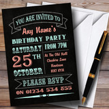 Carnival Banner Vintage Chalkboard Style Green Coral Birthday Party Customised Invitations