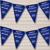 Vintage Text Any Age Birthday Dark Navy Blue Birthday Party Bunting