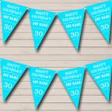 Vintage Text Any Age Birthday Aqua Blue Birthday Party Bunting