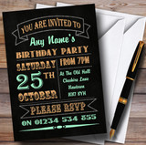Carnival Banner Vintage Chalkboard Style Green Orange Birthday Party Customised Invitations