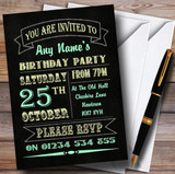 Carnival Banner Vintage Chalkboard Style Green Yellow Birthday Party Customised Invitations