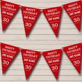 Text Any Age Birthday Dark Claret Red Birthday Party Bunting