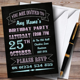 Carnival Banner Vintage Chalkboard Style Pink Blue Birthday Party Customised Invitations