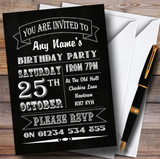 Carnival Banner Vintage Chalkboard Style White Birthday Party Customised Invitations