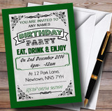 Green Vintage Carnival Customised Birthday Party Invitations