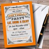Orange Vintage Carnival Customised Birthday Party Invitations