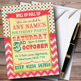 Vintage Carnival Old Style Circus Candy Pink Birthday Party Customised Invitations