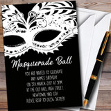 Black & White Mask Masquerade Ball Customised Party Invitations