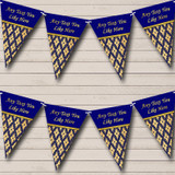 Pretty Navy Blue And Gold Vintage Birthday Party Bunting